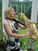 Emily plays solo saxophone