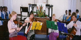 the Spring string Quartet plays for the Service in Barbados, 2001